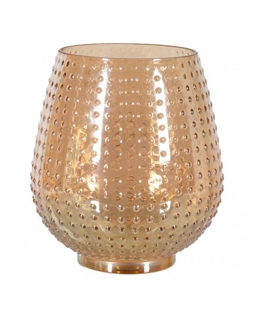 Rausvo aukso spalvos stiklinė žvakidė