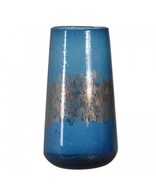 Mėlyna stiklinė žvakidė - vaza