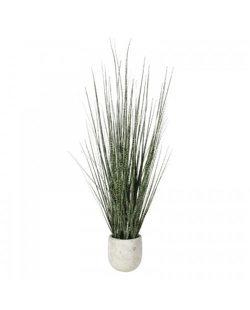 Dirbtinė žolė kreminės spalvos vazonelyje