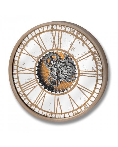 """Laikrodis """"Mirrored Round Clock""""  (judantis mechanizmas)"""