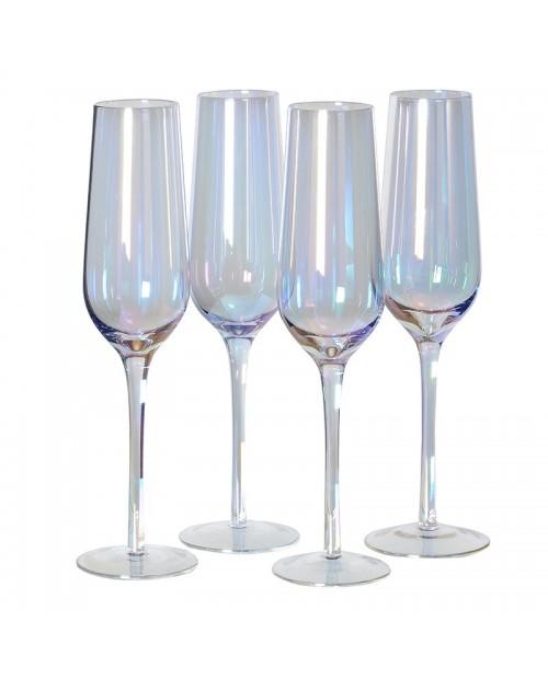 Blizgaus stiklo šampano taurių komplektas 4vnt.
