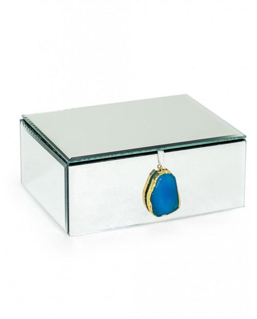 """Veidrodinė papuošalų dėžutė """"Blue Agate"""" (didelė)"""